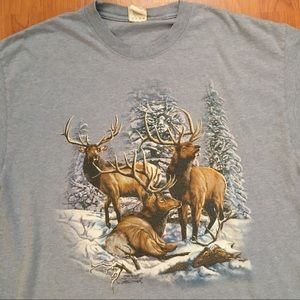 Vtg Elk Winter Snow & Trees Scene T-Shirt Large